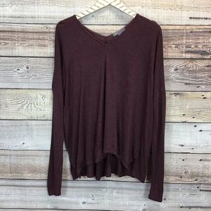 Vince Long Sleeve Knit Top Small Burgundy 0338